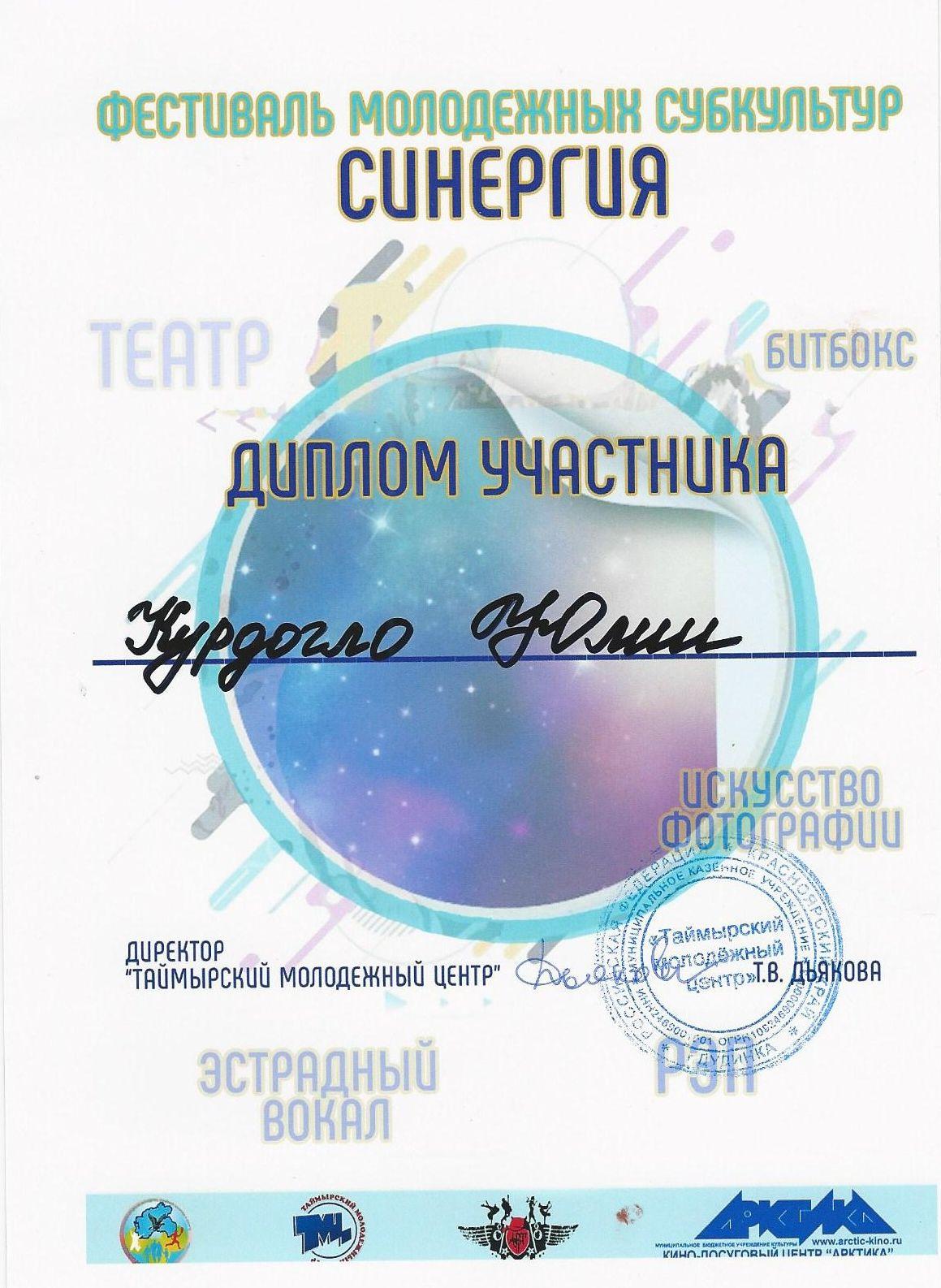 Диплом участника курдогло Юля